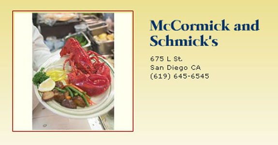 McCormick amp; Schmick39;s Seafood Restaurant Menu. SAMPLE DINNER MENU